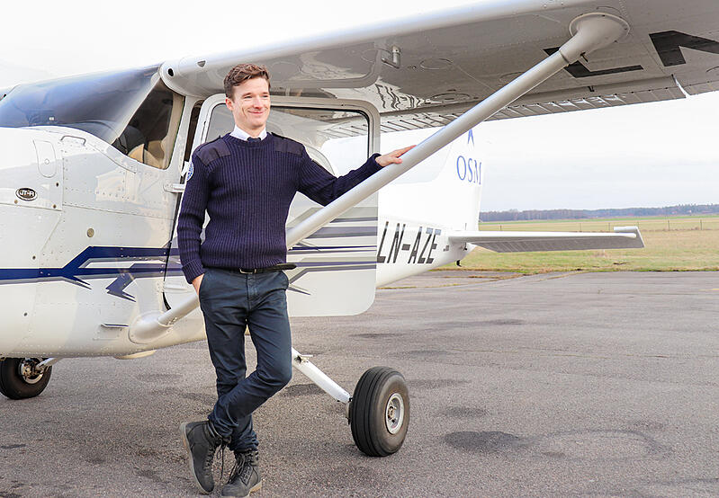 Harrison Goodger in front of Cessna 172