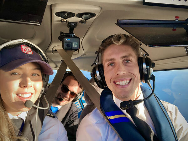 Flight Instructor with two student pilots