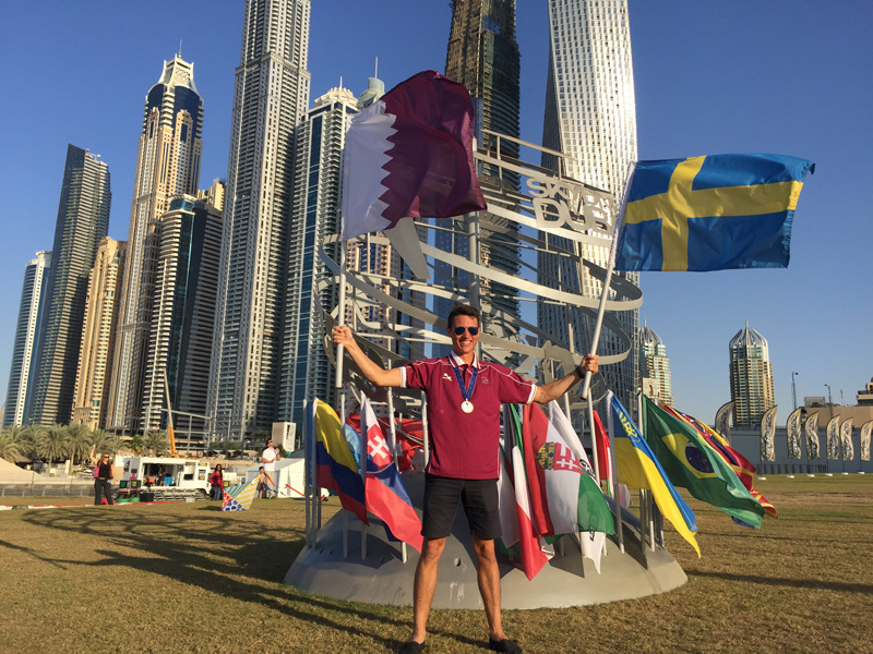 Celebrating winning the silver medal for Qatar in WAG in Dubai