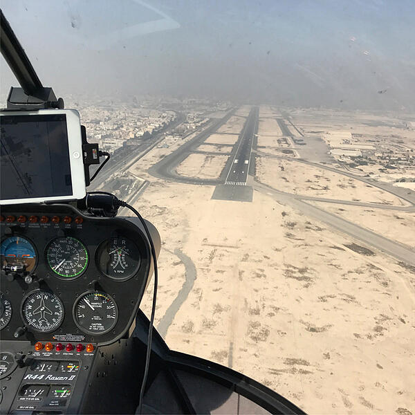 Flying from Sweden to Doha in a helicopter