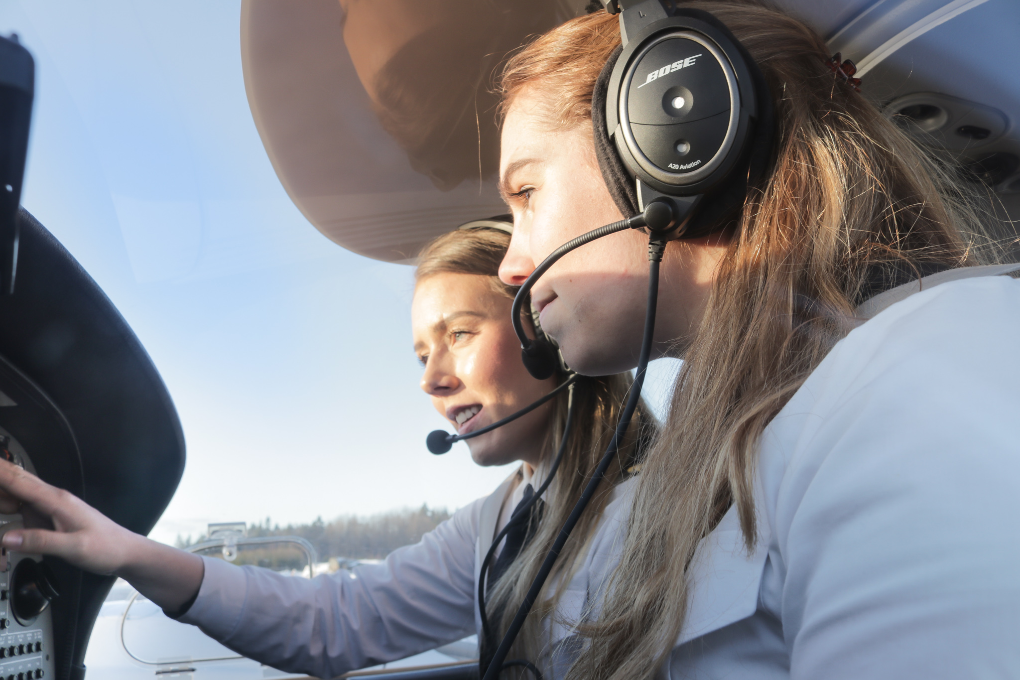 Pilot students during training